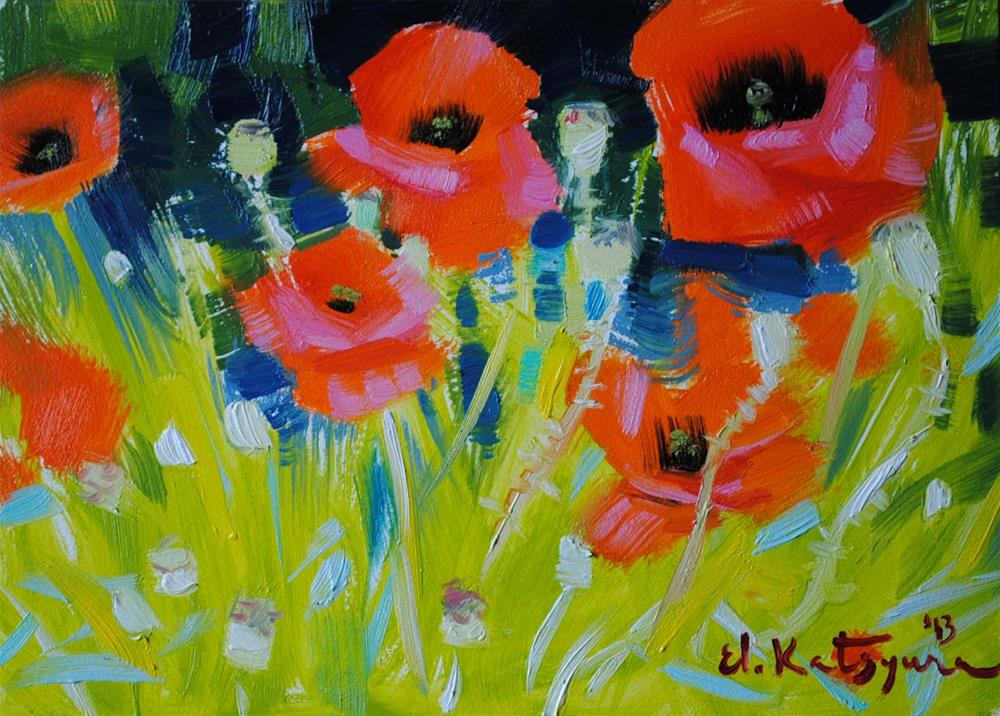 """July Poppies"" original fine art by Elena Katsyura"