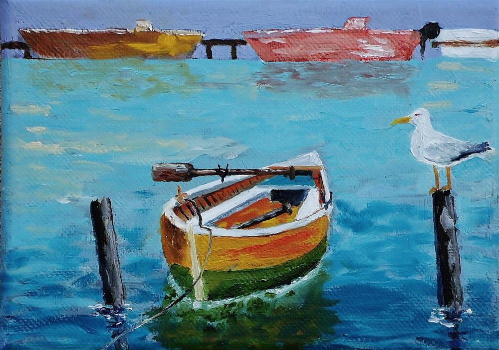 """""""Bird and Boat"""" original fine art by Mike Caitham"""