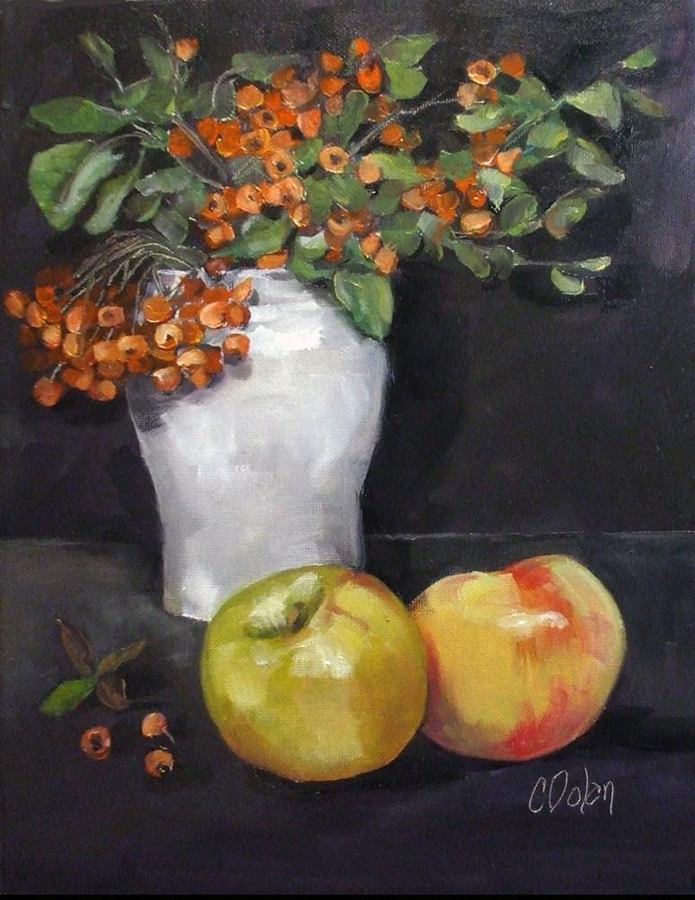 """Firethorn and Apples"" original fine art by Cheryl Williams Dolan"