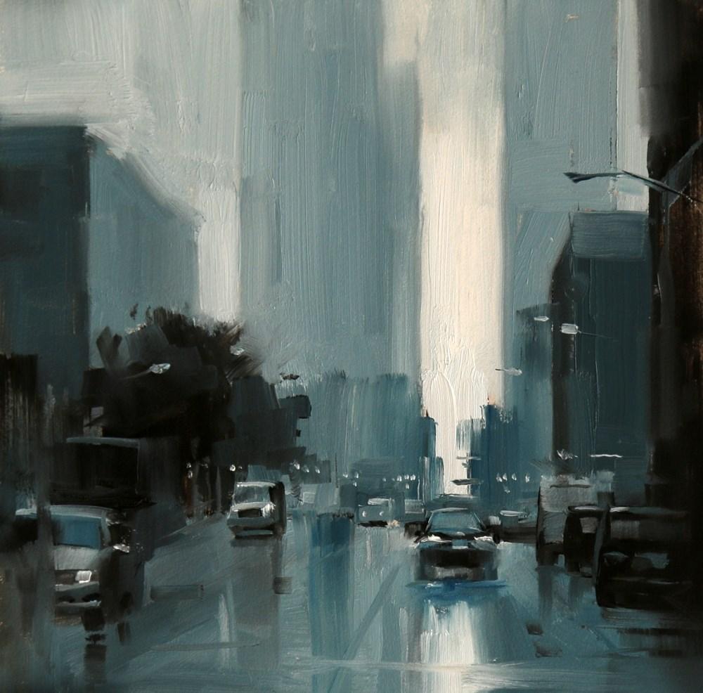 """Chicago in the rain"" original fine art by Qiang Huang"