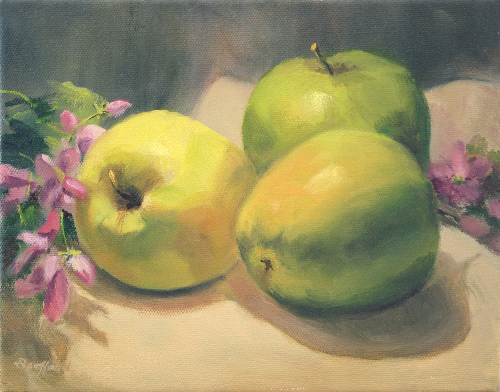 """Apples and Blossoms ~ Sold"" original fine art by Vikki Bouffard"