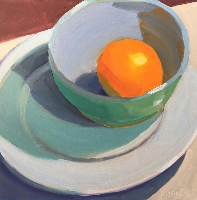 """Blue/Green Bowl on White Plate"" original fine art by Robin Rosenthal"
