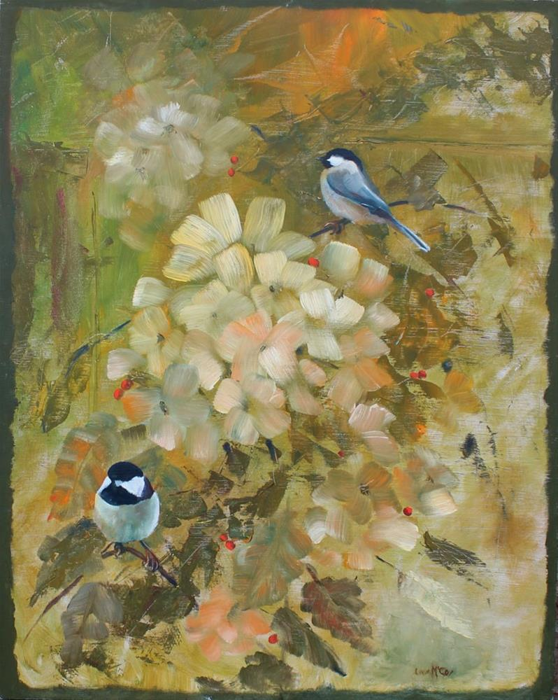 """Chickadee's and Hydrangea, Bird Oil Painting by Linda McCoy"" original fine art by Linda McCoy"