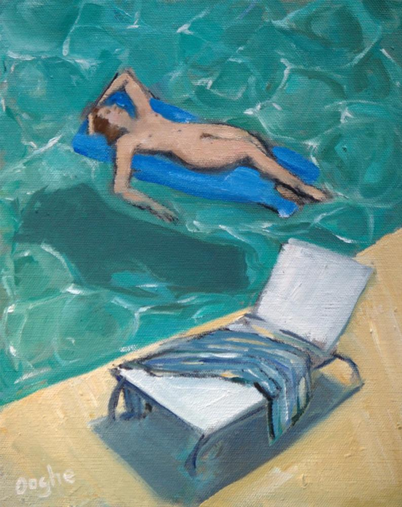 """Nude on Blue Raft"" original fine art by Angela Ooghe"