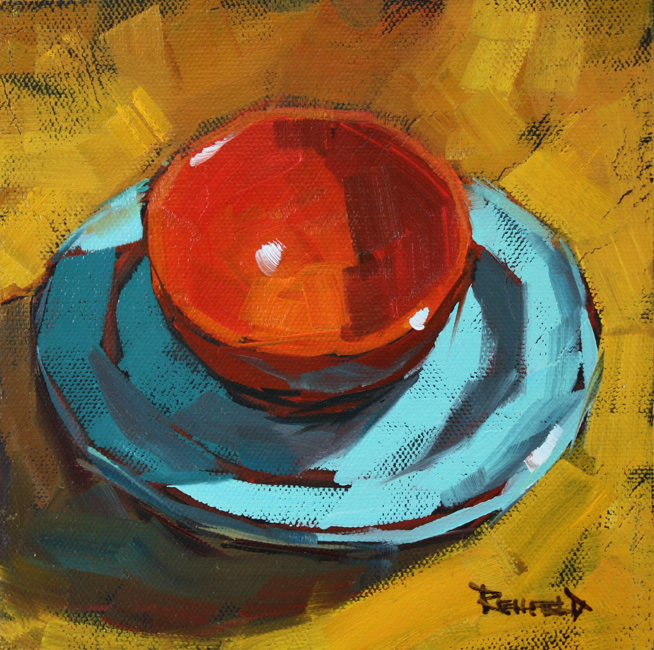 """Fresh Look - Orange and Turquoise"" original fine art by Cathleen Rehfeld"