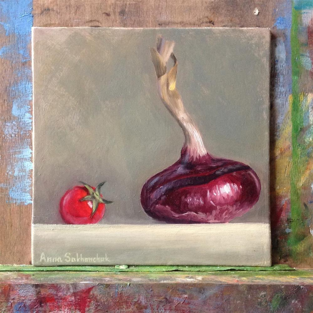 """Red onion with a pearl tomato"" original fine art by Anna Sakhanchuk"