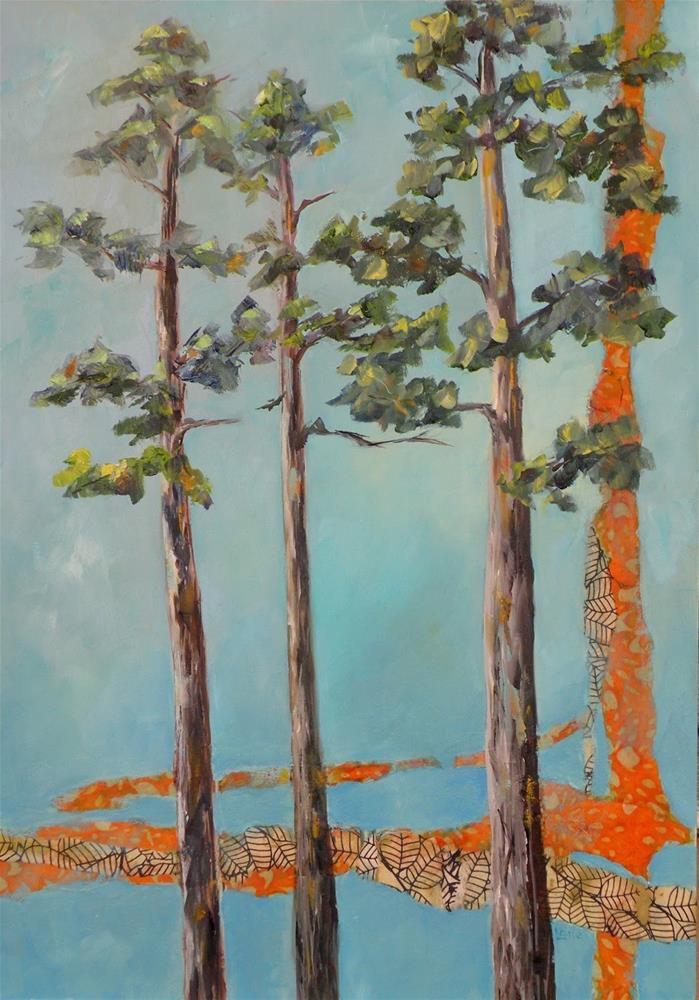 """PINE TRIO ORIGINAL MIXED MEDIA TRIBUTE TO PINE TREES © SAUNDRA LANE FINE ART"" original fine art by Saundra Lane Galloway"