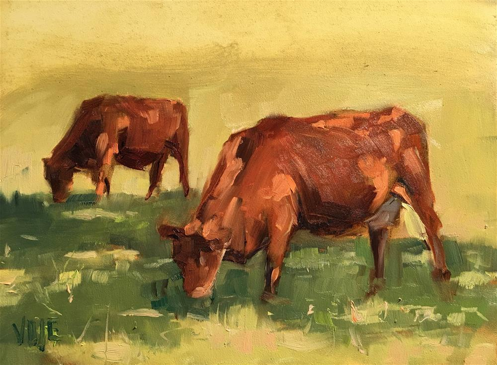 """#379 Grazing in the Grass"" original fine art by Patty Voje"
