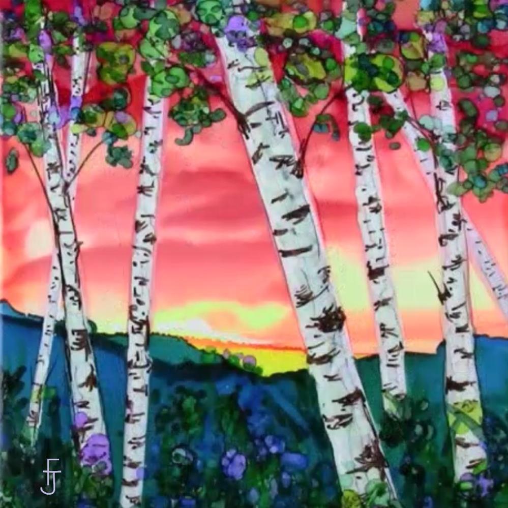 """Trees at Sunset I"" original fine art by Francine Dufour~Jones"
