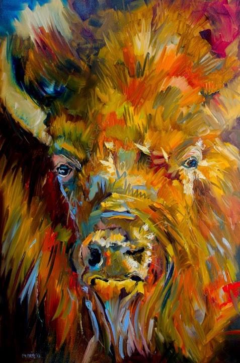 """ARTOUTWEST DIANE WHITEHEAD BISON HEARTFIELT OIL PAINTING ORIGINAL OIL ON LINEN"" original fine art by Diane Whitehead"