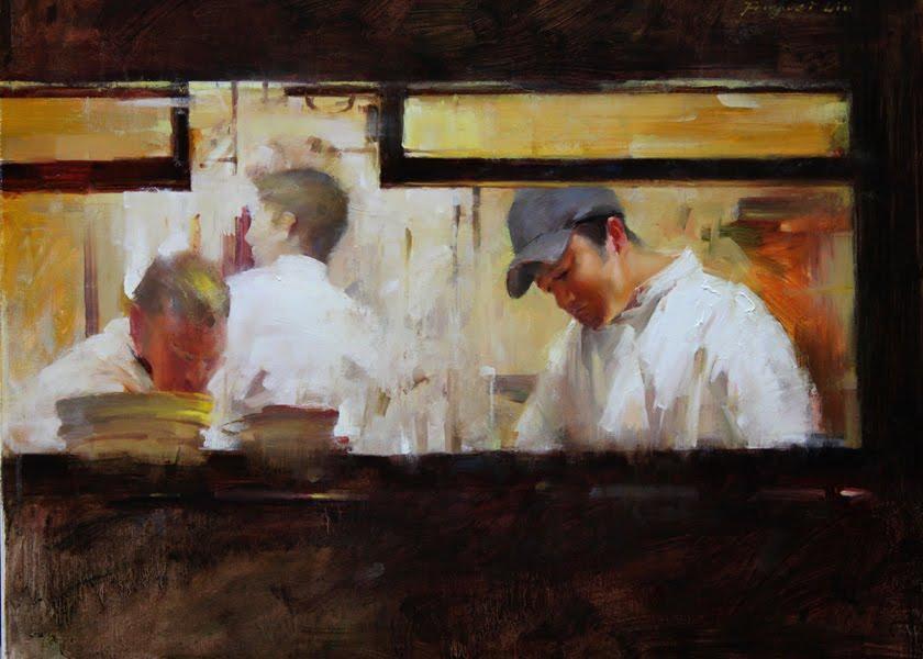 """Kitchen Scene"" original fine art by Fongwei Liu"