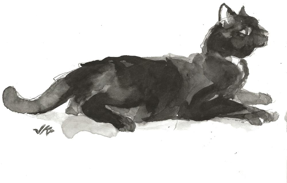 """Daily Cat 120"" original fine art by Jean Krueger"