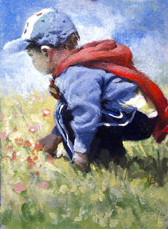 """""""boy in field"""" original fine art by Harry Burman"""