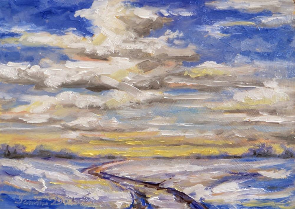 """Clouds Over Winter Road"" original fine art by Tammie Dickerson"