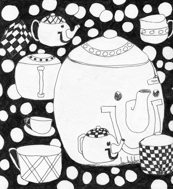 """Tea Time"" original fine art by Lou Belcher"