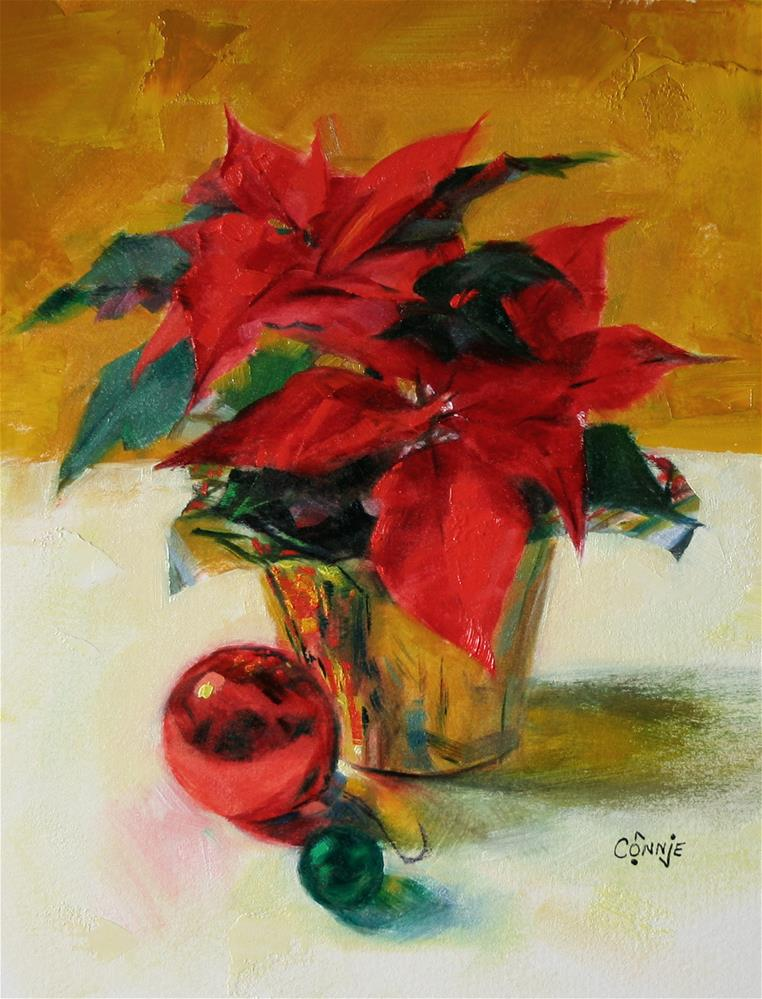 """Poinsettia Study"" original fine art by Connie Nobbe"