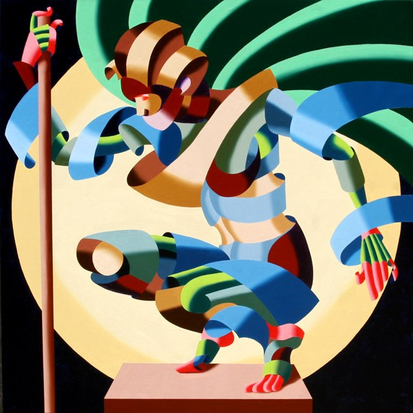 """""""Mark Adam Webster - Felicia 1424 Abstract Geometric Futurism Figurative Oil Painting"""" original fine art by Mark Webster"""