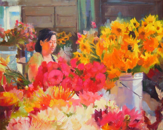 """The Flower Vendor 2011 figurative, floral , oil painting, Seattle city scenes."" original fine art by Robin Weiss"