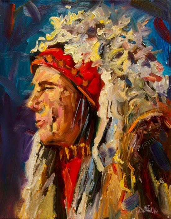 """ARTOUTWEST DIANE WHITEHEAD NATIVE AMERICAN oil painting original Study"" original fine art by Diane Whitehead"