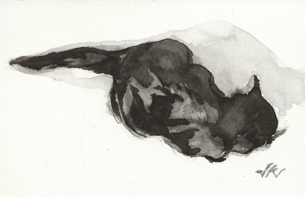 """Daily Cat 144"" original fine art by Jean Krueger"