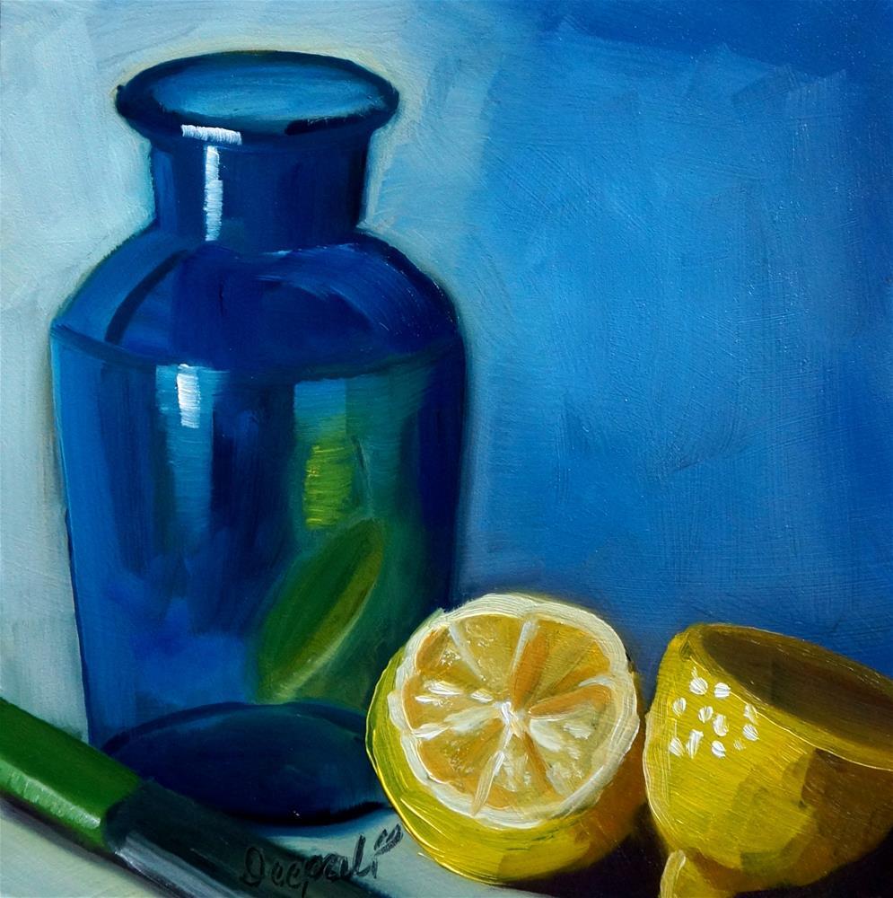 """Lemon with blue vase"" original fine art by Dipali Rabadiya"