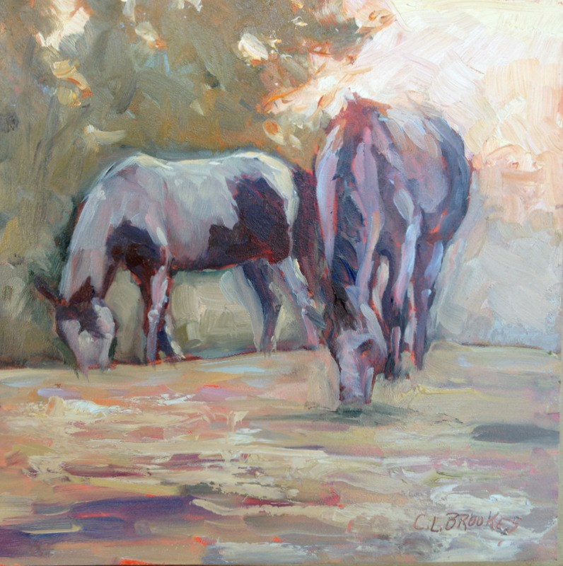 """Early Morning Pasture, Day 9"" original fine art by Claudia L Brookes"