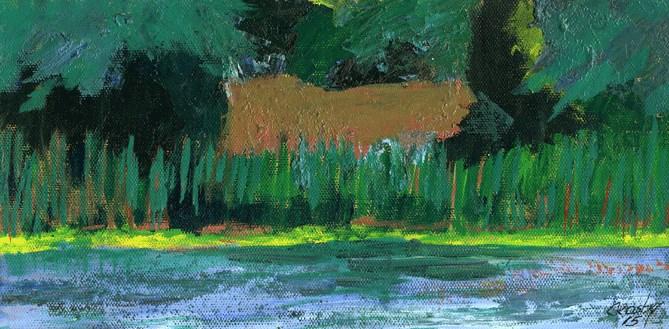 """Pond Reeds"" original fine art by Donna Crosby"