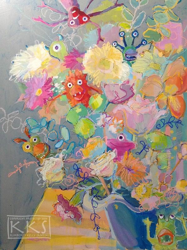 """Hybrid Blooms, Phase 1"" original fine art by Kimberly Santini"