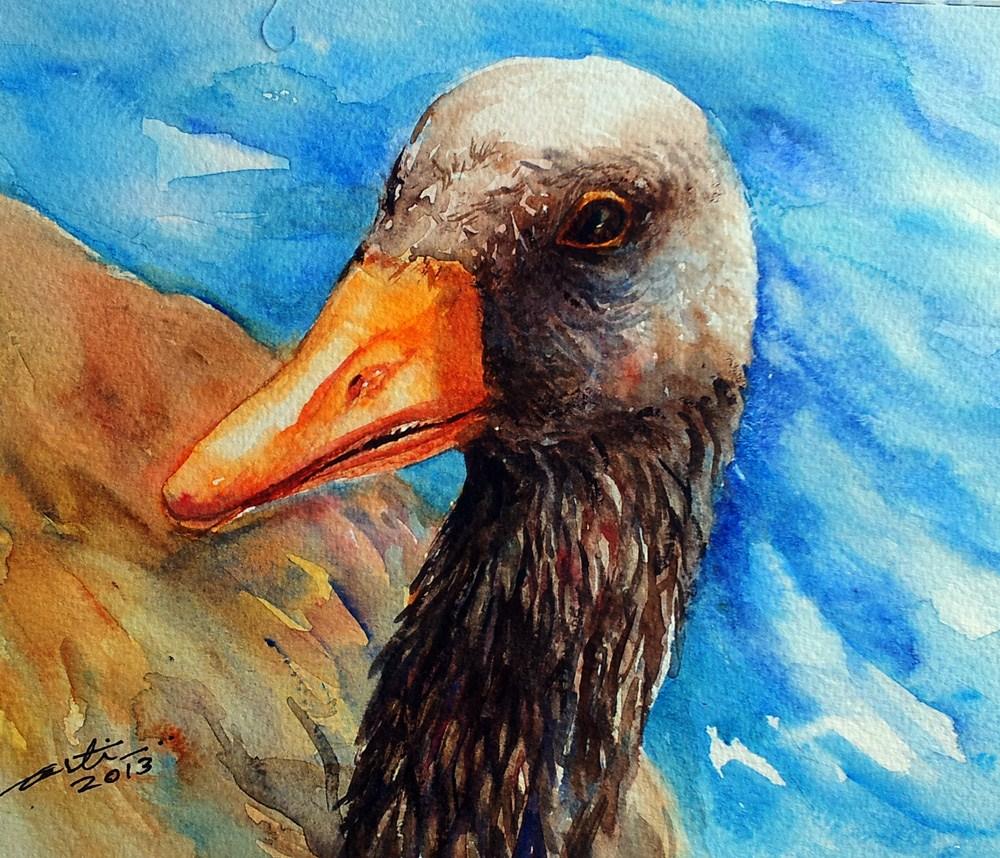 """Black Necked Swan"" original fine art by Arti Chauhan"