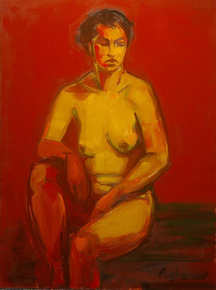 """Red and Yellow Nude"" original fine art by Angela Ooghe"