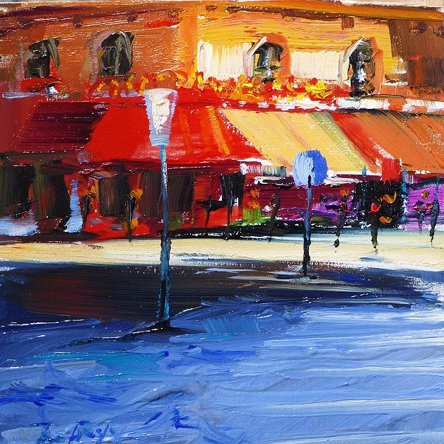 """Parisian cafés"" original fine art by Jurij Frey"