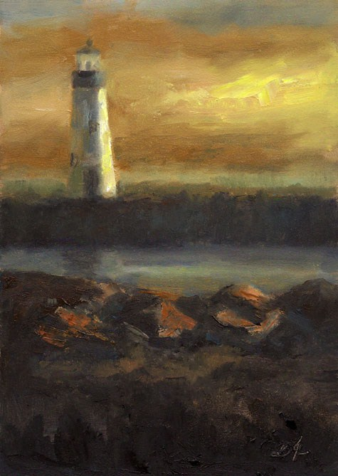 """Lighthouse, Santa Cruz, CA"" original fine art by Linda Jacobus"