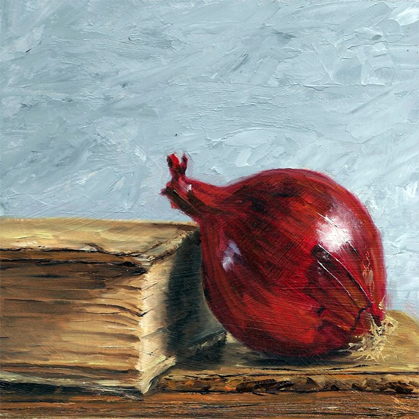 """""""Red onion with antique books"""" original fine art by Peter J Sandford"""
