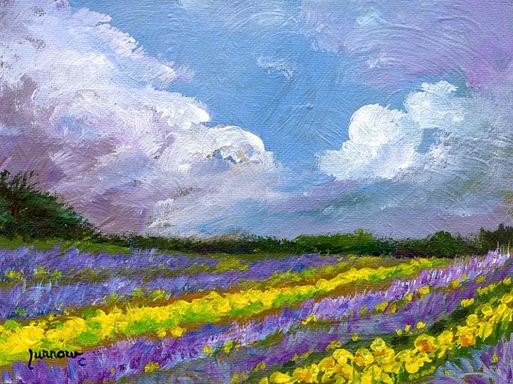 """""""ORIGINAL PAINTING OF LAVENDER AND DAFFODILS"""" original fine art by Sue Furrow"""