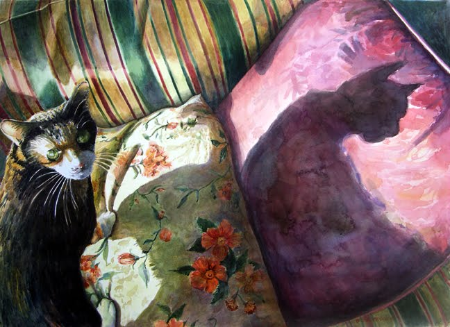 """Watercolor: Lucy Signals Catwoman (& a Pastel & Paper Giveaway)"" original fine art by Belinda Del Pesco"