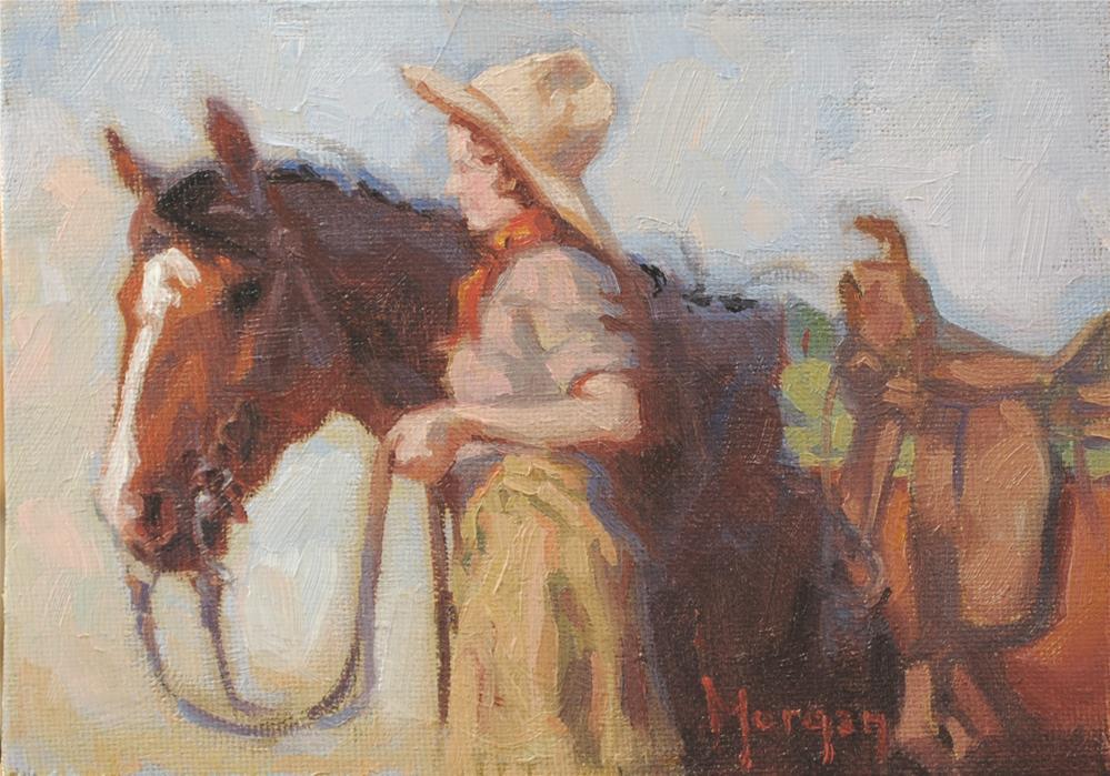"""Cowgirl Memories #5"" original fine art by Cecile W. Morgan"