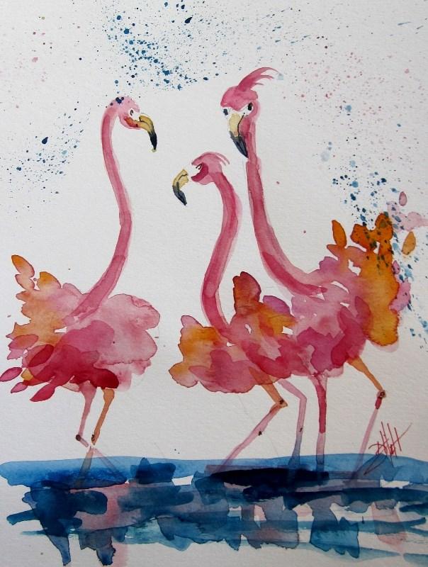 """Fluffy Pink Flamingos"" original fine art by Delilah Smith"
