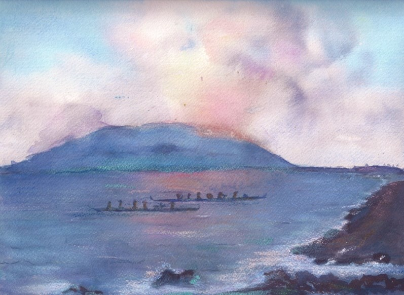 """Maui Canoe Paddlers"" original fine art by Elizabeth Current"