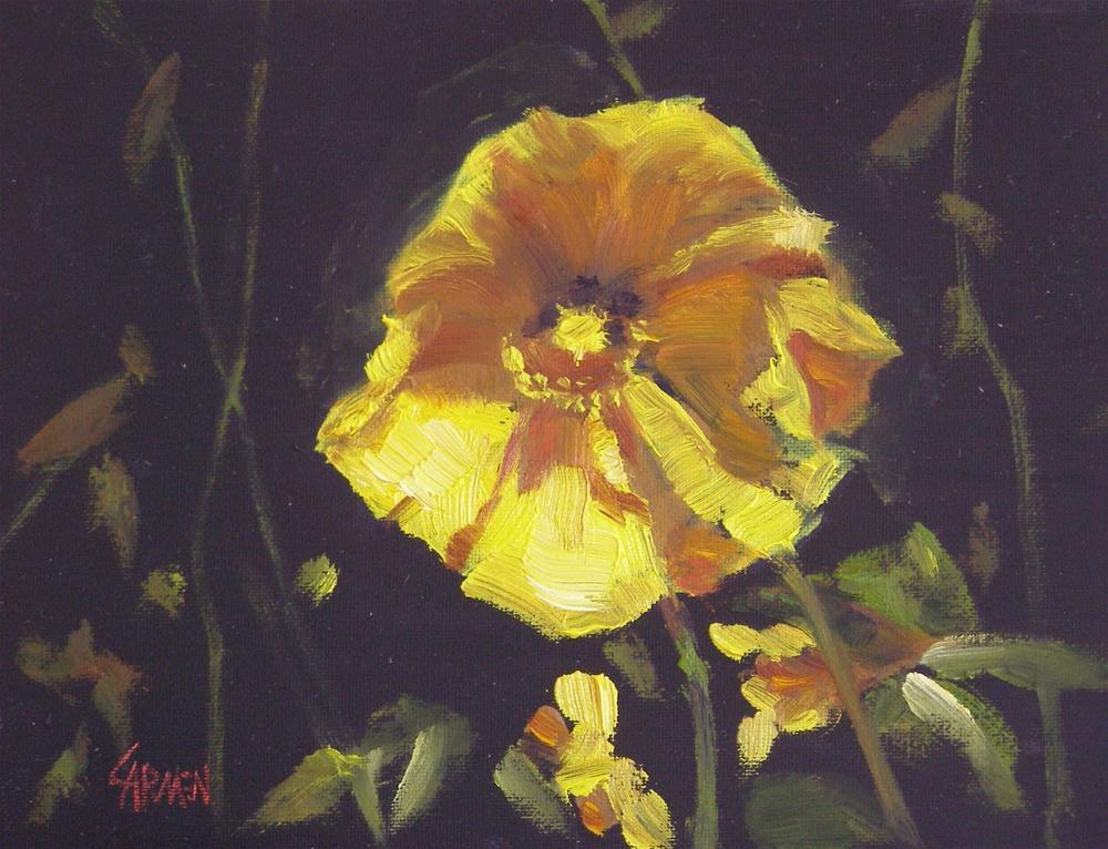 """""""Yellow Poppy, 6x8 Oil"""" original fine art by Carmen Beecher"""