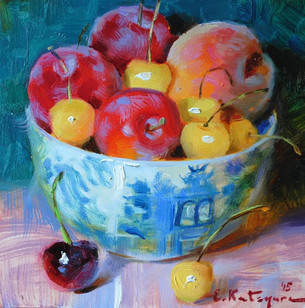 """Fruits on Emerald"" original fine art by Elena Katsyura"