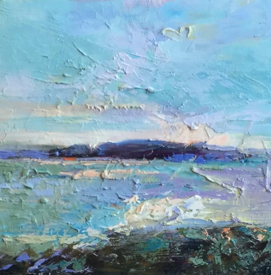 """""""Impasto Seascape 12"""" original fine art by Charlotte Fitzgerald"""