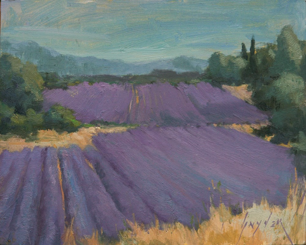 """""""30 Paintings in 30 Days #10 Rolling Lavender at Lioux"""" original fine art by Julie Snyder"""