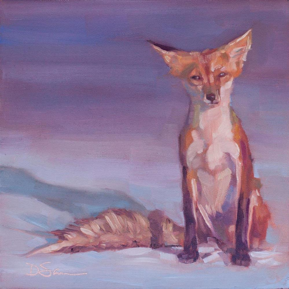 """Eyes of Love No. 4 Fox on Beach"" original fine art by Deborah Savo"
