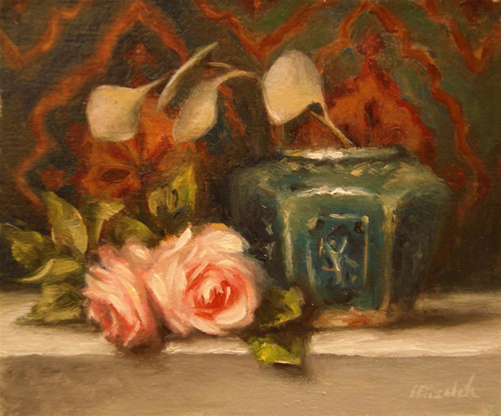 """""""Roses and Green Ginger Jar,  Oil on 5x6 Linen Panel"""" original fine art by Carolina Elizabeth"""