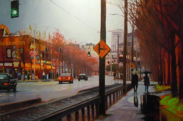 """""""Winter Walk  Seattle city scenes, oil cityscape"""" original fine art by Robin Weiss"""