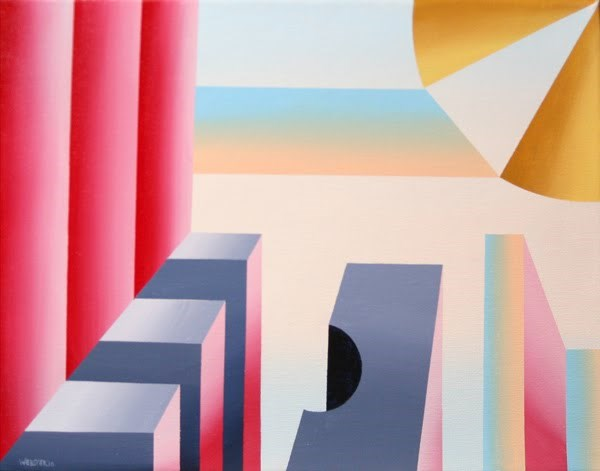 """""""Mark Webster - Prism City Abstract Geometric Acrylic Painting"""" original fine art by Mark Webster"""