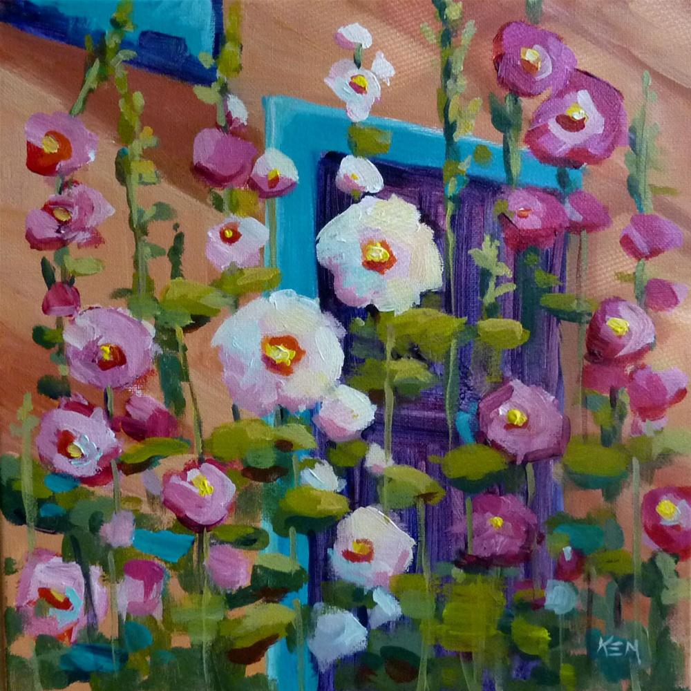 """How a Series Starts...Painting Hollyhocks"" original fine art by Karen Margulis"