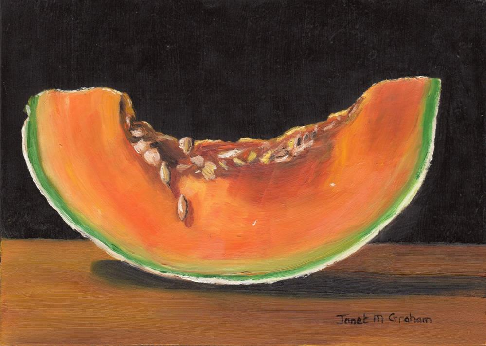 """Cantaloupe Slice"" original fine art by Janet Graham"