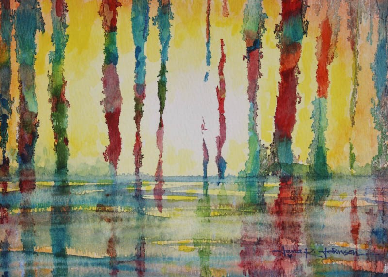 """Swampland Sunset"" original fine art by Jana Johnson"