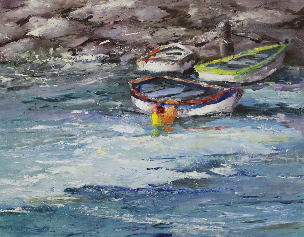 """Original oil boat painting shore wharf impressionism"" original fine art by Alice Harpel"